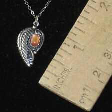 Pendant on 925 Chain - Necklace Set Ch signed 925 Ster Feather and Tan Stone