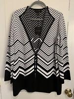 $1,195 St. John Women's Coat Size 6 Black White Knit Draped Topper Cardigan