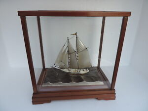 VINTAGE JAPANESE STERLING SILVER 980 2 MASTED MODEL SHIP YACHT BY SEKI JAPAN
