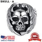 Men's Stainless Steel Gothic Halloween Biker Skull Ring (Size 7 - 12, US Seller)