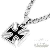 Eisernes Kreuz Anhänger schwarz silber massiv Edelstahl Königskette Bikerschmuck