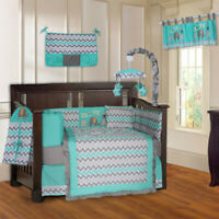 BabyFad 10 Piece Elephant Turquoise Baby Crib Bedding set