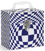 """TUNES-TOTE """"ILLUSION BLUE"""", 7"""" 45-RPM VINYL RECORDS CARRY CASE -  FREE SHIPPING!"""