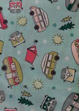 Caravans, Motorhomes Campers & Tents - Blue - Cotton Fabric - Metre/Fat Quarter