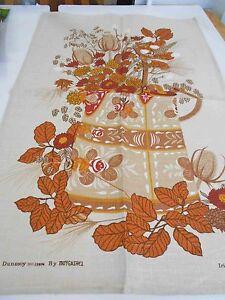 Vintage Teatowel 'Autumn Jug' Pure Irish Linen by Dunmoy Brand New