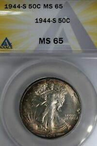 1944-S  .50  ANACS  MS 65  Walking Liberty, Half Dollar, Lady Liberty Half