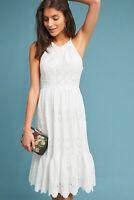 NWT $168 Anthropologie Maeve Tiered Eyelet White Midi Dress size16 Halter lace