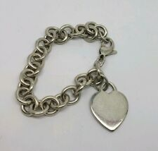 TIFFANY AND CO STERLING SILVER HEART CHARM TAG CHAIN BRACELET