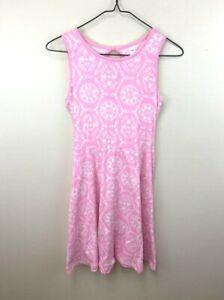 Justice Girls 16 Pink White Floral Knit Swing Dress Tie Backs Keyhole Back