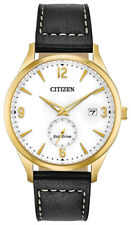 Citizen Eco-Drive Men's White Dial Black Leather Strap 40mm Watch BV1112-05A