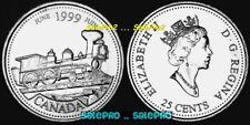 CANADA 1999 JUNE CANADIAN QUARTER TRAIN LOCOMOTIVE w/STEAM RARE 25 CENT COIN UNC