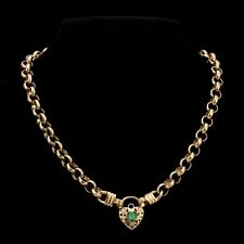 18K Yellow Gold GL Ladies Solid CHUNKY Belcher Necklace & Emerald Filigree Heart