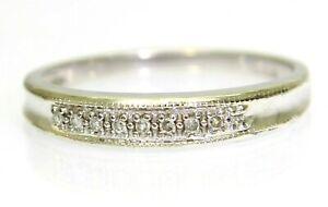 Pretty 0.10ct Diamond Half Eternity 9ct White Gold Stacking Band Ring O ~ 7 1/4