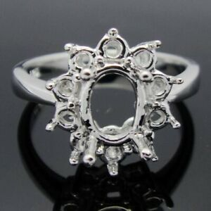 Fine Jewelry 14K White Gold 6x8mm/6.5x8.5mm Oval Engagement Wedding Gift Ring