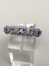 10K White Gold Tanzanite and Diamond Band Ring Multi Shape Size 7 0.25ct Diamond