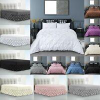 Pintuck Bedding Set 100% Egyptian Cotton Duvet Cover Set Pin Tuck Valance Sheets