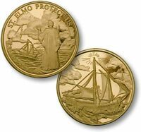 St Elmo Protect Us Challenge Coin Patron Saint of Mariners Sailors Ship Boat Sea