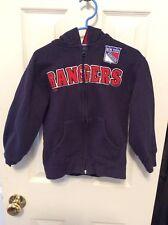 New York Rangers Reebok Youth Zipper Hoodie Sweatshirt Size 5-6