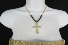 Weekend Women Fashion Gold Metal Chain Necklace Black Beads Silver Cross Pendant