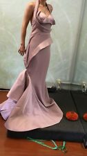 Fouad Sarkis by Mnm Couture 2334 evening gown Long Dress red Carpet purple S 38