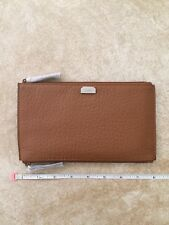 Lodis Women's  Borrego RFID Lani Double Zip Leather Pouch BNWT - Toffee Brown