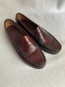Mens G.H. BASS WEEJUNS Penny Loafers Shoes Burgundy Leather Size 10.5 D