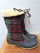 MINT or NEW L.L.Bean Wool Plaid Duck Boots Sherpa Lined RARE Maine USA sz 11 M