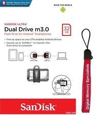 SanDisk 32GB OTG Ultra Dual microUSB 32G USB 3.0 Pen Drive SDDD3-032G + Lanyard