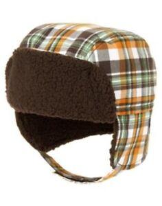 GYMBOREE RACCOON BUDDIES ORANGE PLAID FUR TRIM TRAPPER HAT 0 3 6 12 18 NWT