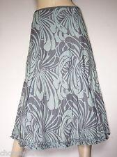 Per Una ~ Green & Grey Print Flared Linen Skirt ~ Size 8