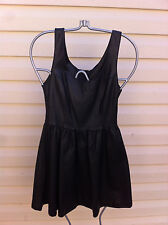 STYLISH  DIVIDED LITTLE BLACK LEATHER LOOK DRESS SIZE: 4US/34EUR NEAR NEW