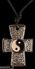 Combined Yin and Yang Enamel & Peace Symbol Cross Pendant Necklace  CJN1041