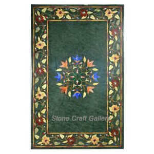 "36"" x 22"" Marble Corner Table Semi Precious Stones inlay pietradura Work Decor"