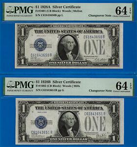 Rare - 1928-A / 1928-B $1 S/C (( CB Block - Changeover Pair )) PMG 64EPQ