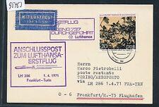 95463) LH FF Frankfurt - Turin Italien 1.4.71, Karte ab DDR + viol. Ra5