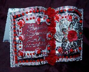 Glückwunschkarte Grußkarte zum 75.Geburtstag Buchkarte Silber Rot Geschenkkarte