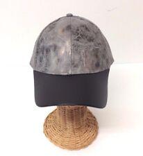 NEW Rustic metallic PU w/ PU visor Baseball Cap Men Women Adjustable, Gray/Black