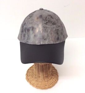 NEW Rustic metallic PU w/ PU visor Baseball Cap Men Women Adjustable, Gray/Black
