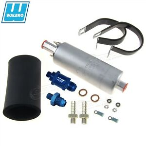 GENUINE WALBRO/TI Ext Inline Fuel Pump +6AN Fitting +Check Valve +Kit GSL393