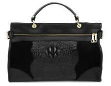 Ital. echt Leder LUXUS Tasche Ledertasche Kroko Schwarz Damen Handtasche NEU
