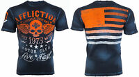 AFFLICTION Mens T-Shirt FADED IRON American Customs USA FLAG Biker Jeans $58