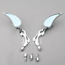 Motorcycle Rearview Chrome Flame Teardrop Side Mirrors Blue Glass 8mm 10mm J07