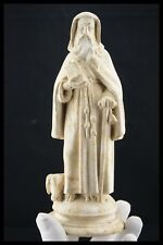 """† SAINT ANTHONY THE GREAT & PIG OLD STATUE PLASTER CHALKWARE FRANCE H.8.1/2"""" †"""
