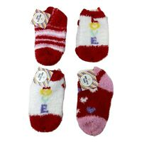 Toddler Girls 4 Pcs Cozy Soft Socks Sz 5-6.5 Hearts Stripes Love Red Pink Multi