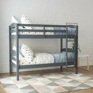 Better Homes & Gardens Leighton Wood Twin-Over-Twin Bunk Bed, Gray
