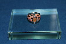 Sterling Silver Enamel & Honey Amber Ring Signed THL
