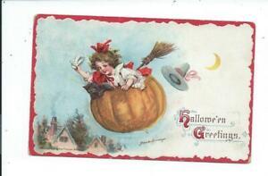 Postcard Post Card Vintage Halloween Francis Brundage Girl Flying Pumpkin Cat