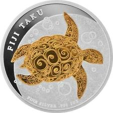 Fiji 2010 $2 Gilded Fiji Taku 1 Oz Fine Silver Coin Proof-like Gold-plated