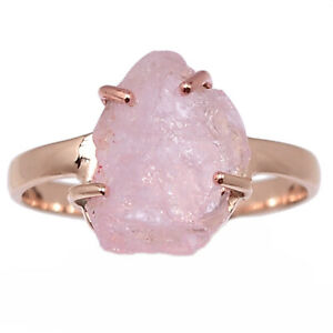 Rose Gold Plated Morganite Rough - Madagascar 925 Silver Ring s.9 BR98565