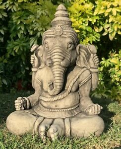 STONE GARDEN LARGE GANESH BUDDHA ELEPHANT PRAYING STATUE ORNAMENT